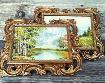 Vintage Paintings, Oil Paintings, Framed  Art, Set of 2 Golden Frames with Art, Landscape Paintings, Vintage Home Decor