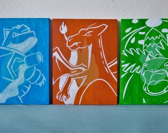 Single A4 painting of either Blastoise, Charizard or Venusaur