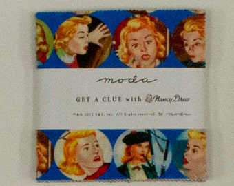 Get a Clue with Nancy Drew Charm Pack Precut by Moda - M1340PP - Quilting and sewing fabric - free postage in Australia