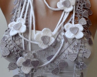 Crochet flower necklace scarf in white lilac neckscarf Guipure lace scarf Crochet jeweleries Summer scarf Mothers day gifts White lariats