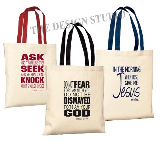 Scripture Tote Bag Christian Tote Bag Custom Book Bag