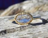 Rose Cut Diamond .85ct Unique Engagement Ring 14k Yellow Gold 22k Bezel Set Modern Designer Elizabeth Street OOAK