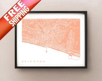 Brighton Map Print - UK Wall Art - England Poster