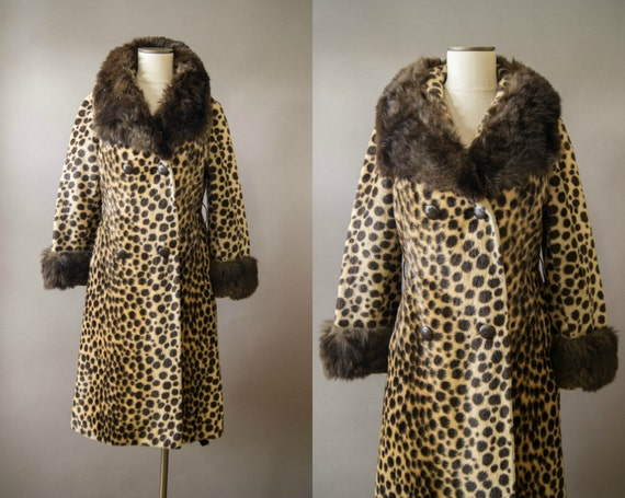 vintage 1960s coat / 60s leopard print fur coat / small-medium / Leader of the Pack Coat