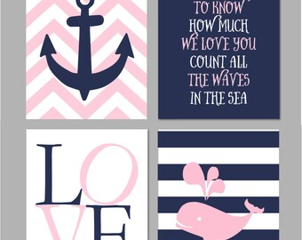 "50% Off Baby Girl Nautical Nursery Pink and Navy Nursery Nautical Wall Art Nursery Art If You Want to Know INSTANT DOWNLOAD 8""x10"""