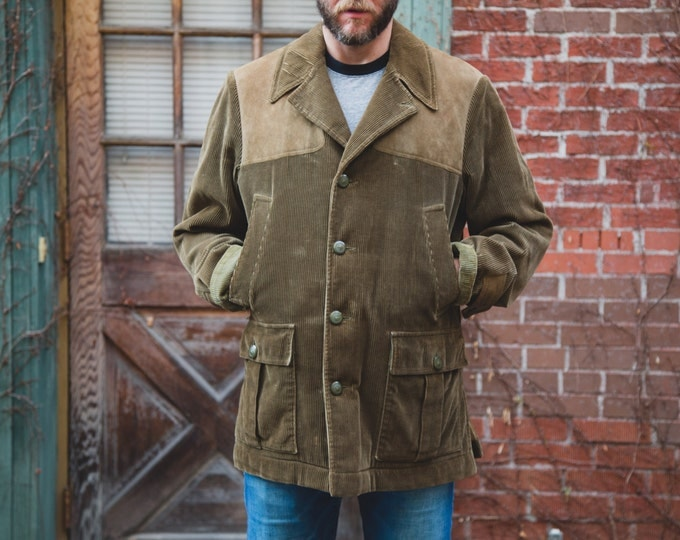 """Vintage Men's Jacket """"The Squire"""" Winter/Fall Jacket with with Brown Corduroy Shell /Made in England/ Newton Abbot / Hunting Jacket"""