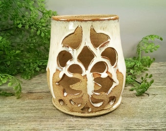 SALE - Cream Geometric Design Luminary - Hand Carved and Wheel Thrown Candle Holder / Lantern