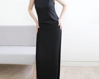 Jersey dress, long black dress, summer dress, side open dress
