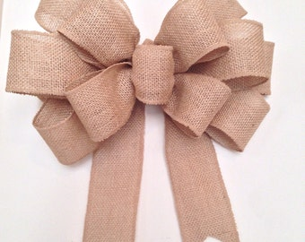 Burlap Bow, big wreath bow, wedding bow, rustic burlap bow, door bow, burlap wreath bow, decor bow, gift bow, country bow, burlap home bow