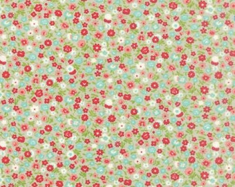 Vintage Picnic Floral Wildflowers Gray - 1/2yd