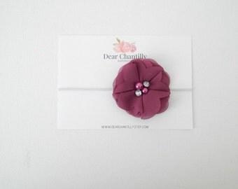 ELLIETTE Chiffon Flower Headband in Plum
