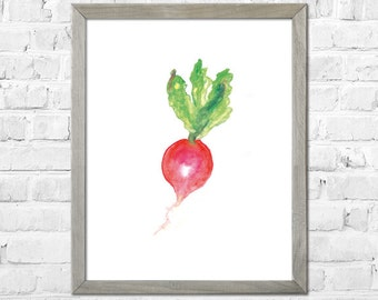 Vegetable Watercolor Painting, Kitchen Wall Art, Kitchen Art Print, Radish Art, Kitchen Wall Decor, Wall Art Kitchen
