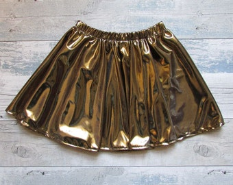 Girls Party Metallic Circle Skirt