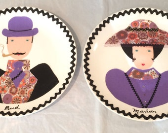 Vintage Decorative Plates Man (Bud) and Woman ( Marion) Handmade 1950 Collectibles