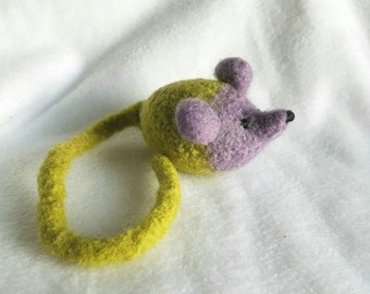 Felted  long tailed catnip mouse, Cat Toy