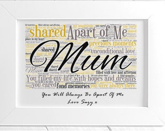 Personalised Mother Remembrance Framed Word Art