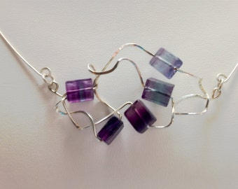 Fluorite and Silver Wire Necklace