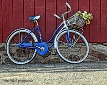 Bicycle against building,red wall, New England scenery,Etsy finds,unique gifts,bicycle with flowers,rustic scene,old bike photo,blue bicycle