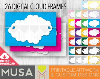 INSTANT DOWNLOAD / 26 / Multicolor / Digital Cloud Frame Set / Tags / Labels / Scrapbooking