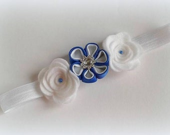 Royal Blue and White Baby Headband, Floral Baby Headband, 6-12months Headband, Baby Hair Accessories