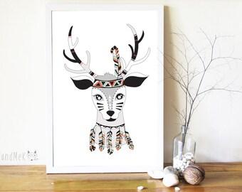 Deer Art Printable ,Animals Art Printable, Digital Art Printable, animal clipart, Instant Download Art