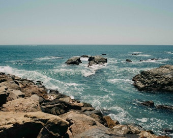 Ocean Photography Art - Dana Point Harbor Orange County California Turquoise Light and Dark Blue Coastal Sea Rocks Water Waves Print