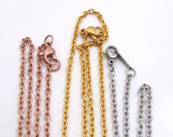 Stainless Steel Necklace Chain, Cable Chain Necklace with Lobster Clasp, Finished Necklace - 3 x 2.2mm chain - Gold, Rose Gold, Silver(141)