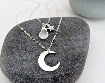 layered moon necklace moonstone necklace moon pendant cubic zirconia star necklace celestial moon crescent moon rainbow moonstone 925 silver