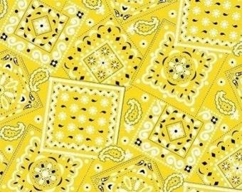 Bandana Fabric Yellow 100% Cotton