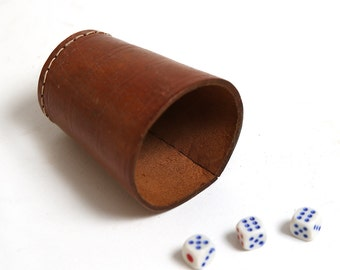 Vintage leather dice cup, Vintage dice game, Workshop organizer, Office decor, Vintage handmade leather dice cup with gambling dice