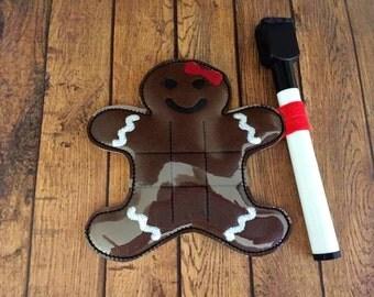 Gingerbread Girl Tic Tac Toe Board Game - Christmas - DIGITAL EMBROIDERY DESIGN