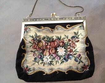 Tapestry Clutch, Floral Tapestry Handbag Purse, Tapestry Fabric Handbag, Floral Fabric Bag, Ladies Handbag, Tapestry Purse, Bag, Floral Bag