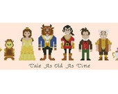 Cross stitch pattern Disney Beauty and the Beast Instant Download PDF with text