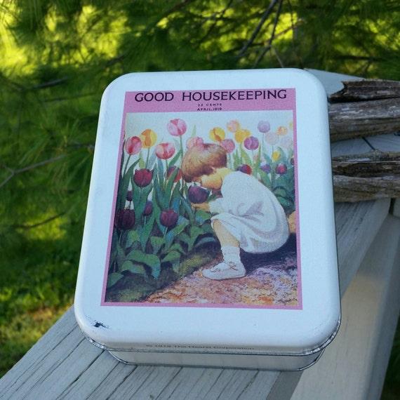 Good Housekeeping: Good Housekeeping April 1919 Cover Replica Tin Girl Picking