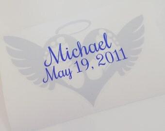 Memorial Decal - Angel Decal - Miscarriage Memorial - Pregnancy Loss Memorial - Angel Wing Decal - In Memory of Decal