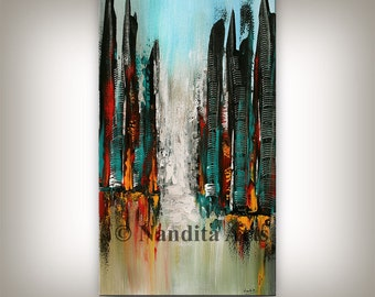 Cityscape Painting, Cityscape Art, Large abstract cityscape wall art modern home decor, City Scape Artwork by Nandita Albright