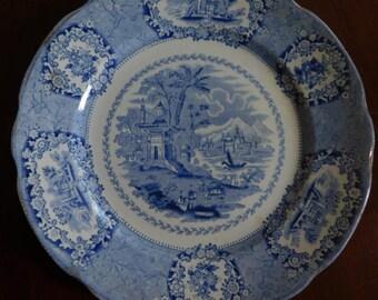 """Romantic Blue Transferware Plate """"Oriental"""" by Ridgeway Ca. 1891"""