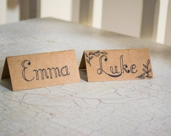 Hand Written Wedding Name Cards