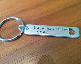 Love you Mom xoxo hand stamped heart cut out tag Keychain can be Personalised with the kids initials