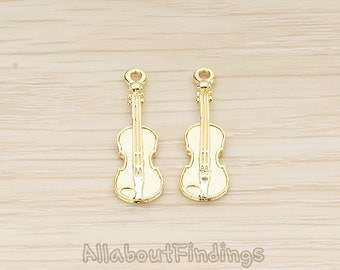 PDT1529-01-G // Glossy Gold Plated Orchestra Musical Instrument Guitar Pendant, 2 Pc