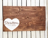 Wood Guest Book Alternative with Heart Personalized with Last Name or Initials