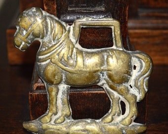 Vintage English Shire Horse Brass Plaque Mount