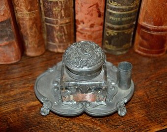 Antique Small French Pewter Inkwell Cherub Beautifully Detailed with Pen Slot Crystal