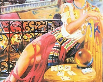 "Gypsy girl, fortune teller, crystal ball, tarot cards, bohemian girl, gypsy girl, fortune telling, seer, 11 x 14"" canvas art print"