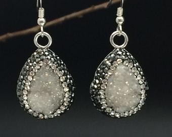 Druzy Earrings, White Druzy Quartz Earrings, Pave Swarovski Crystal Earrings, Statement Earrings, Silver Earrings, Earrings under 75