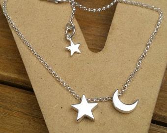 Moon and Star Bracelet, Sterling Silver Moon and Star Celestial Bracelet, Celestial Jewelry, Star and Moon Bracelet, Crescent Moon, Stars
