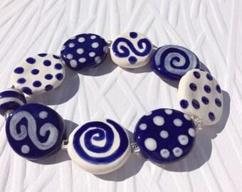 Navy Blue and White Porcelain Beaded Bracelet, Handmade One of a Kind Bracelet