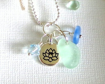Lotus Sea Glass Necklace  Summer Beach Love, Garden Leaf Seaside