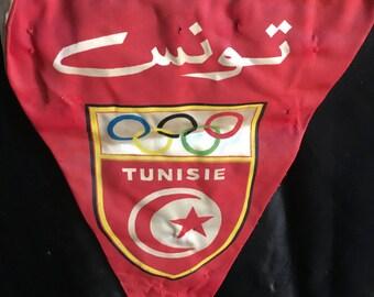 Vintage 1960 Olympic Game Pennant Gagliardetto Tunisia