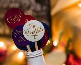 Swizzle Sticks. Modern Calligraphy. Personalize Monogram. Wedding Swizzle Stick. Personalized Swizzle Stick. Drink Stirrers. Stir Sticks.